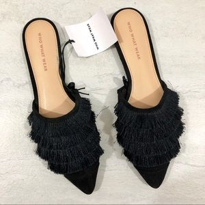 Who What Wear NWT Black Fringe Slides